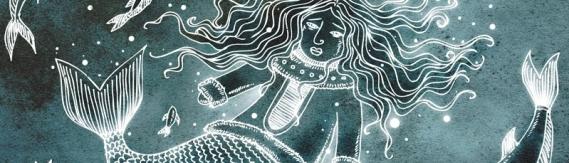 Illustration de Sedna sous les eaux, par Alexandra Myotte. L'image a été découpée.
